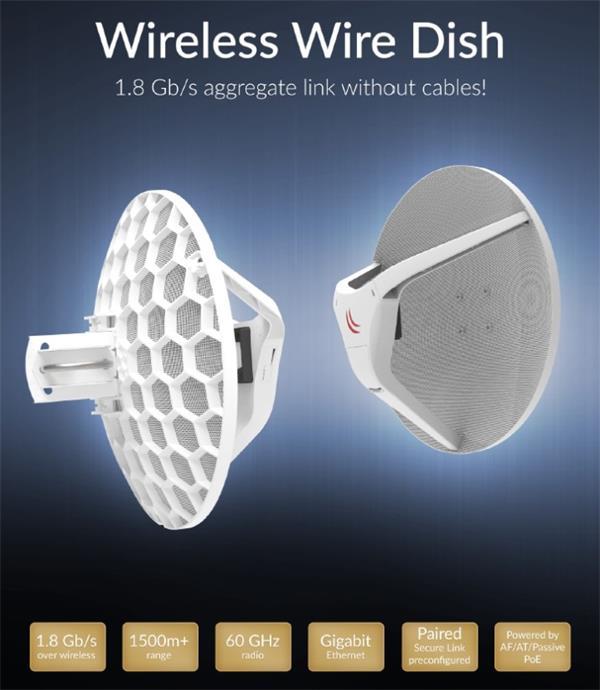 MIKROTIK • RBLHGG-60ad kitr2 • 60GHz link Wireless Wire Dish