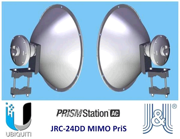 UBIQUITI • PrismLink5AC • 5GHz P-t-P bridge PrismStation 5AC with JIROUS JRC-24 DD PrisM