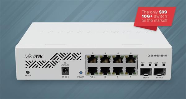 MIKROTIK • CSS610-8G-2S+IN • 10-portový switch (8x GB Eth, 2x SFP+)